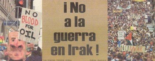 El Tribuna Roja Nº 90, del 10 de marzo de 2003, trae numerosas expresiones de repudio mundial a la agresión imperialista. La fotografía es parte de la primera página.